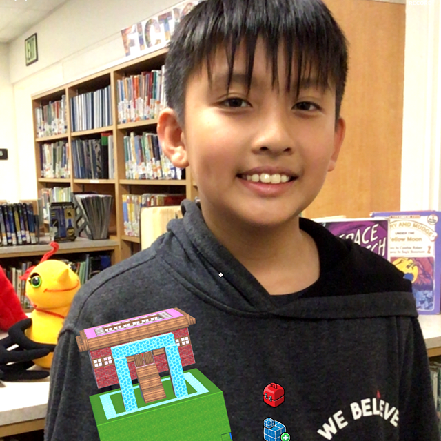 Students build creative structures using augmented reality!