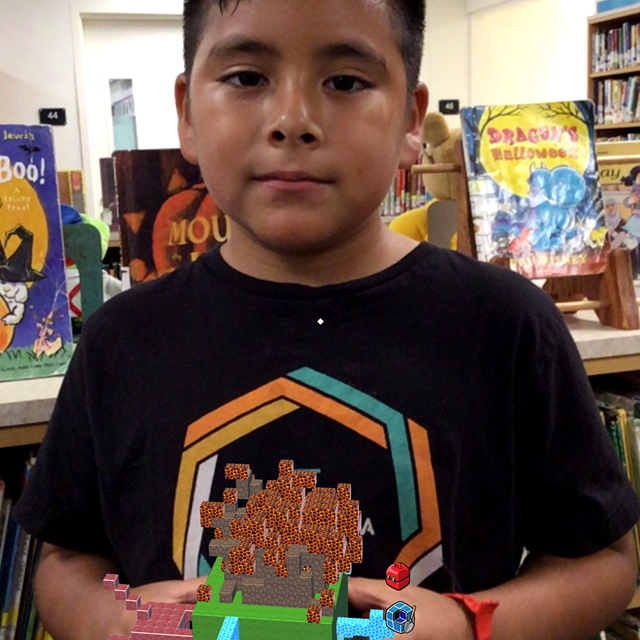 Student built a volcano using augmented reality!