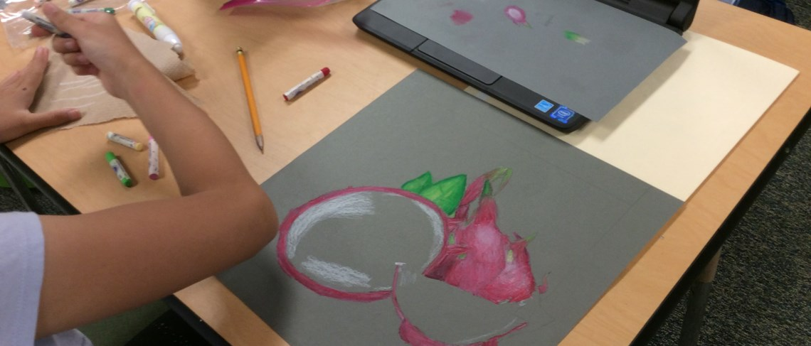 Students demonstrate their talent in the new after school art program.